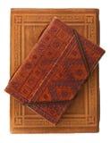 rouge brun deux de cuir d'agenda de livres Photo libre de droits