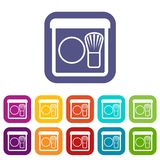 Rouge with brush icons set Royalty Free Stock Photography