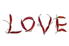 rouge chaud d'amour de /poivron Photographie stock