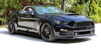2018 Rouge Convertible Ford Mustang Stage 3 Super Sport car with 900 Horse Power, Luxury muscle car. stock photography