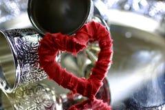 Rouge d'argent de forme de coeur Photographie stock