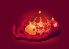 rouge d'or de Noël de bille Photos stock