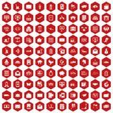 rouge d'hexagone de 100 icônes de service postal illustration libre de droits