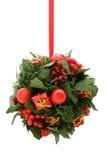 rouge d'ornement d'or d'éléments de Noël Photos libres de droits
