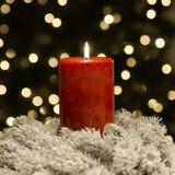 Rouge de bougie de Noël Photographie stock libre de droits