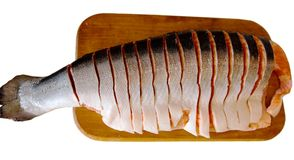 Rouge de côté de poissons de truite Images stock