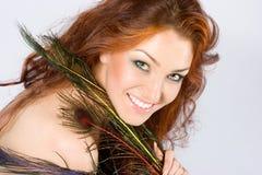 rouge de cheveu de beauté photographie stock libre de droits