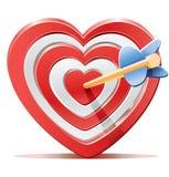 But rouge de cible de coeur avec la flèche Photos libres de droits
