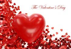 rouge de coeur de confettis Photos stock