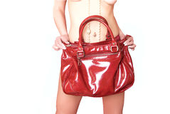 rouge de cuir de fixation de fille de sac images stock