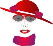 rouge de dame de chapeau Image libre de droits