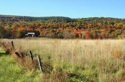 rouge de feuillage d'automne de grange Photos libres de droits