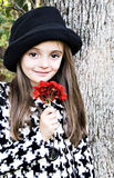 rouge de fille de fleur photographie stock