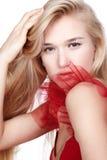 rouge de fille de robe Photographie stock libre de droits