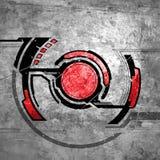 Rouge de fond rayé par résumé de technologie Photo libre de droits