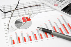 Rouge de graphique de gestion Photo stock