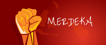 Rouge de l'Indonésie de bras de poing de main de merdeka de l'indépendance de l'Indonésie illustration stock