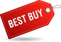 Rouge de label d'étiquette de Best buy illustration libre de droits