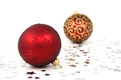 rouge de Noël de babioles Photographie stock