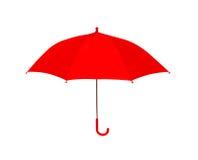 Rouge de parapluie d'isolement sur le fond blanc, objet photo stock