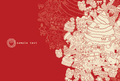 Rouge de thème de Noël de dessin au trait Images libres de droits