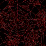 Rouge de toile d'araignée de Halloween sur le modèle sans couture de fond noir S Photo stock