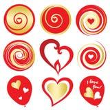 Rouge de Valentine Day et éléments numériques d'or Photos stock