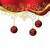 Rouge de vecteur et cadre de Noël d'or d'isolement illustration stock