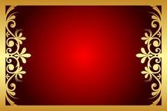 Rouge et cadre floral d'or Photographie stock