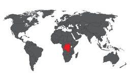 Rouge du République démocratique du Congo sur la carte grise du monde illustration libre de droits