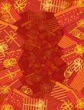 Rouge enveloppé de cadre de cadeaux Image libre de droits