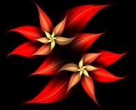 Rouge et abrégé sur débordant fleurs d'or Image libre de droits