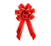 Rouge et arc et ruban de cadeau d'or Images libres de droits