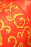 Rouge et backgound de Noël d'or Photographie stock