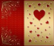 rouge et carte de Valentines d'or illustration de vecteur