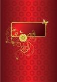 Rouge et carte de voeux florale d'or illustration stock