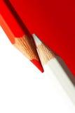 Rouge et crayons de Whitel Photographie stock