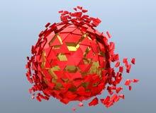 Rouge et or 3d abstrait brisé par sphère d'isolement illustration stock