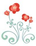 Rouge et fleurs d'or Images libres de droits
