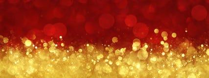 Rouge et fond abstrait de Noël d'or Photographie stock libre de droits