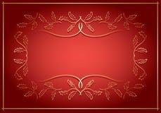 Rouge et fond d'or avec le cadre au centre illustration stock