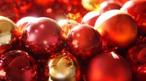 Rouge et fond d'ornements de Noël d'or Photos libres de droits