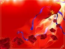 Rouge et fond de Chinois d'or Photos stock