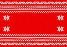 Rouge et fond tricoté par blanc Photos stock