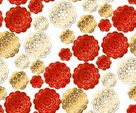 Rouge et modèle d'or dans le style de porcelaine Photographie stock libre de droits