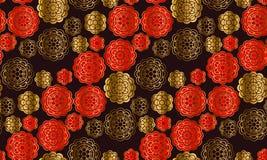 Rouge et modèle d'or dans le style de porcelaine Illustration de vecteur pour la voiture Photo stock
