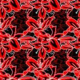 Rouge et noir fleurit lilly le modèle sans couture Illustration de vecteur illustration libre de droits