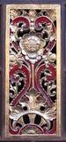 Rouge et panneau imploré par or Images stock
