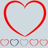 Rouge et tout autre coeur de couleur dans le style d'art Photo stock