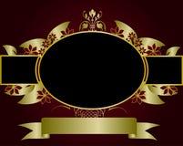 rouge floral d'or de conception Image stock